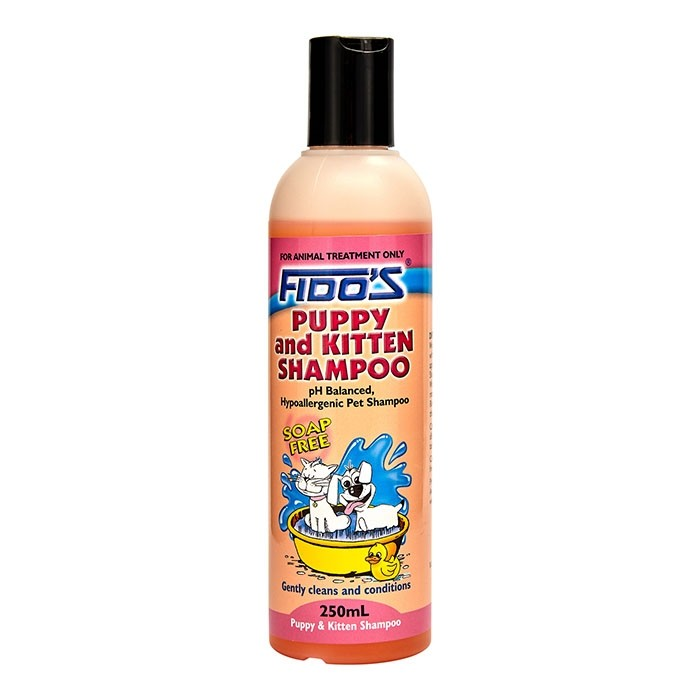 Fido's Puppy and Kitten Shampoo is a soap-free, PH balanced and hypoallergenic formulation for use on puppies, kittens and small domestic pets.