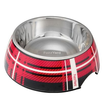 fuzzyard red fling easy feeder pet bowl