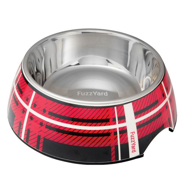 fuzzyard red fling easy feeder pet bowl